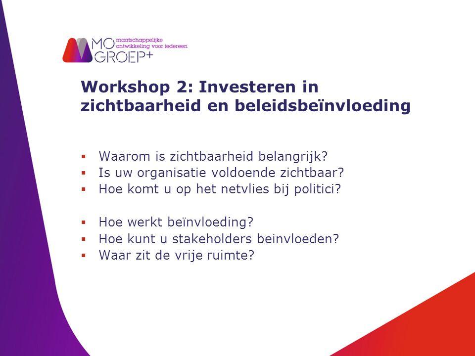 Workshop 2: Investeren in zichtbaarheid en beleidsbeïnvloeding  Waarom is zichtbaarheid belangrijk.