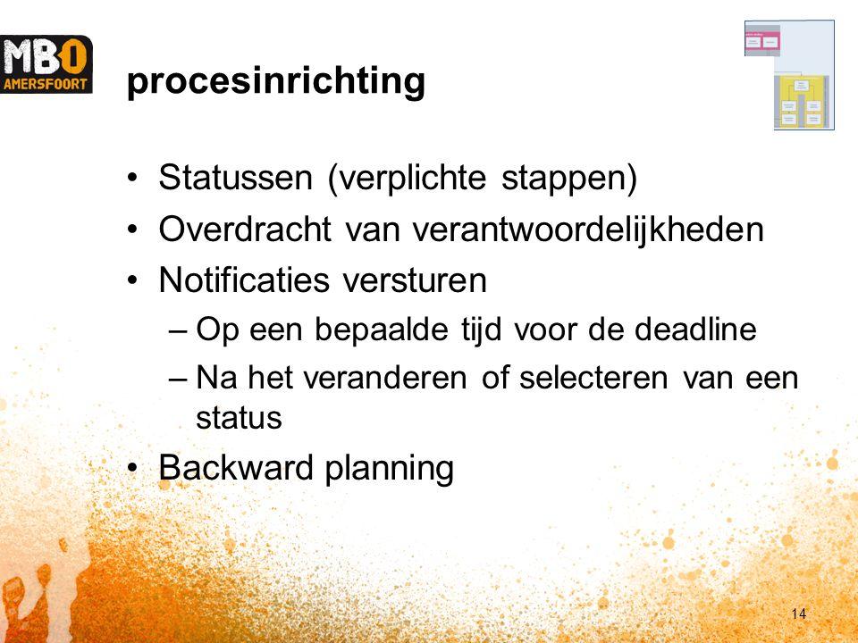 procesinrichting Statussen (verplichte stappen) Overdracht van verantwoordelijkheden Notificaties versturen –Op een bepaalde tijd voor de deadline –Na het veranderen of selecteren van een status Backward planning 14