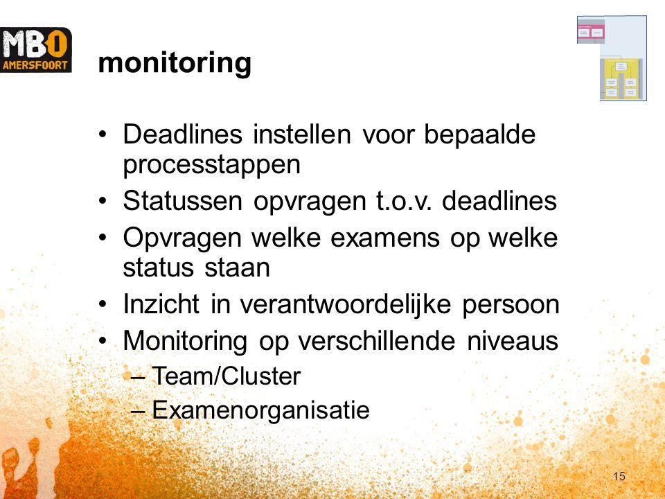 Deadlines instellen voor bepaalde processtappen Statussen opvragen t.o.v.