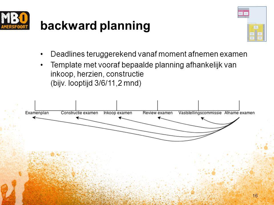 backward planning Deadlines teruggerekend vanaf moment afnemen examen Template met vooraf bepaalde planning afhankelijk van inkoop, herzien, constructie (bijv.