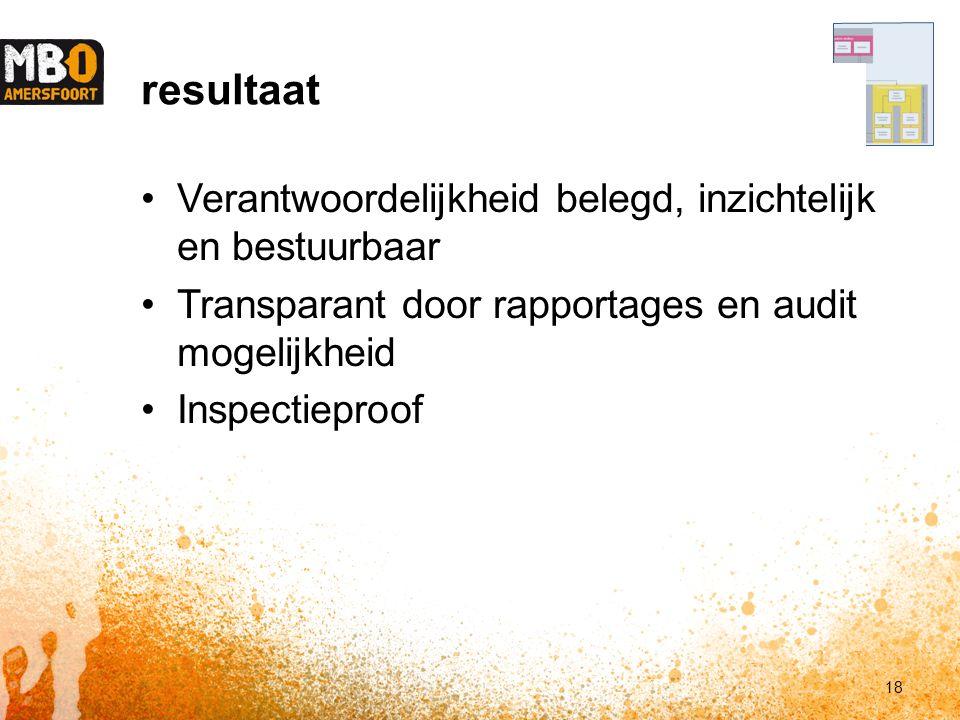 resultaat Verantwoordelijkheid belegd, inzichtelijk en bestuurbaar Transparant door rapportages en audit mogelijkheid Inspectieproof 18