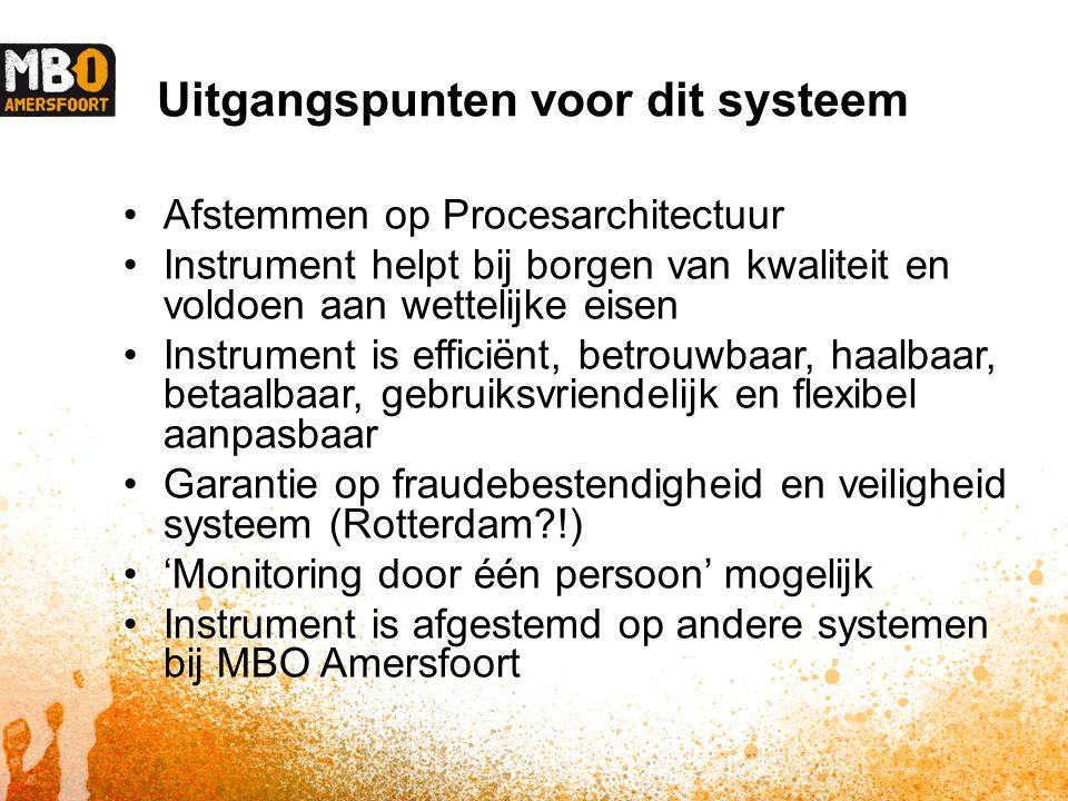 Uitgangspunten voor dit systeem Afstemmen op Procesarchitectuur Instrument helpt bij borgen van kwaliteit en voldoen aan wettelijke eisen Instrument is efficiënt, betrouwbaar, haalbaar, betaalbaar, gebruiksvriendelijk en flexibel aanpasbaar Garantie op fraudebestendigheid en veiligheid systeem (Rotterdam !) 'Monitoring door één persoon' mogelijk Instrument is afgestemd op andere systemen bij MBO Amersfoort