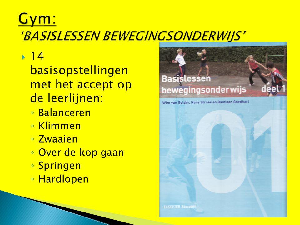  14 basisopstellingen met het accept op de leerlijnen: ◦ Balanceren ◦ Klimmen ◦ Zwaaien ◦ Over de kop gaan ◦ Springen ◦ Hardlopen