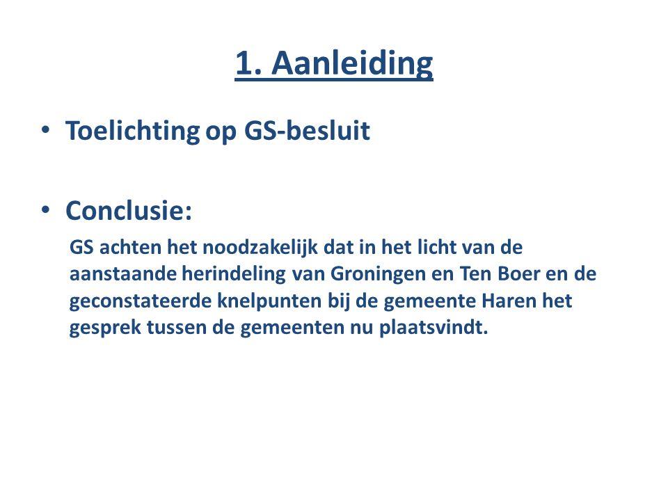 1. Aanleiding Toelichting op GS-besluit Conclusie: GS achten het noodzakelijk dat in het licht van de aanstaande herindeling van Groningen en Ten Boer