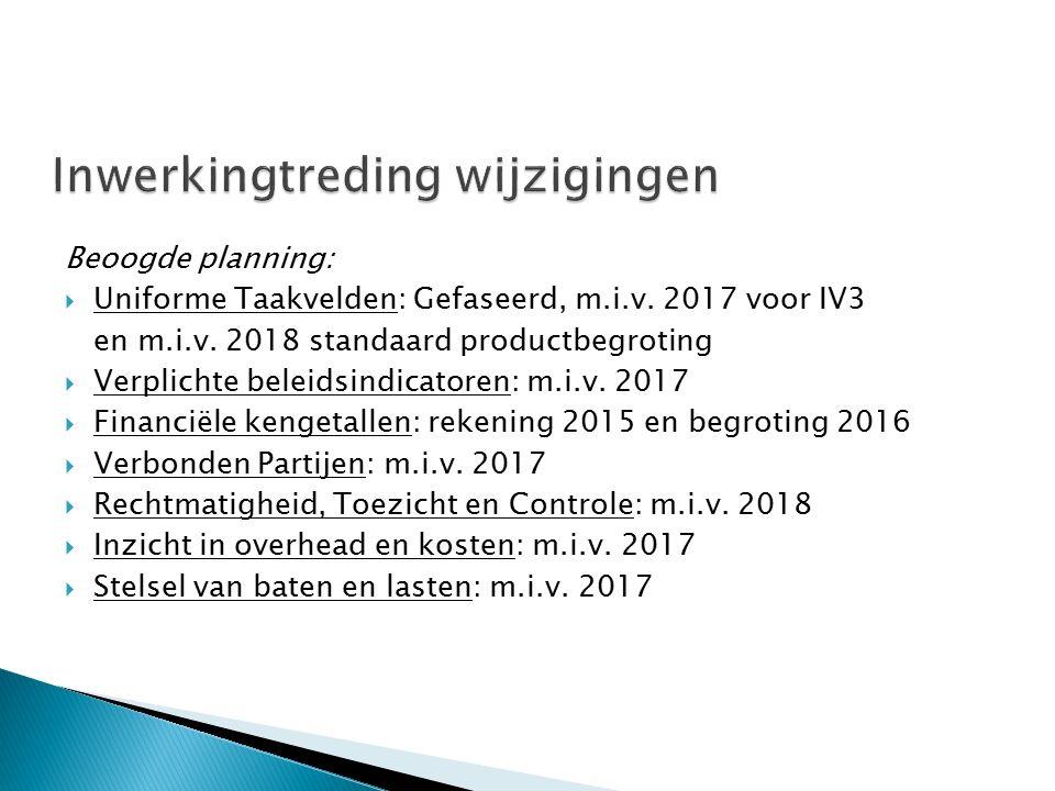 Beoogde planning:  Uniforme Taakvelden: Gefaseerd, m.i.v. 2017 voor IV3 en m.i.v. 2018 standaard productbegroting  Verplichte beleidsindicatoren: m.