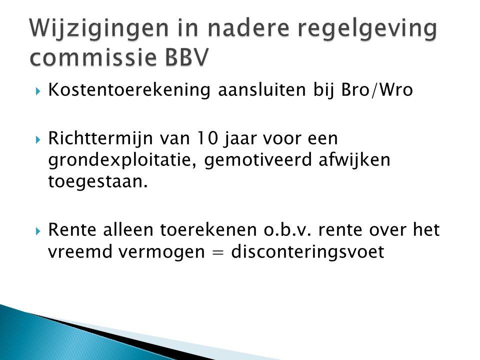  Kostentoerekening aansluiten bij Bro/Wro  Richttermijn van 10 jaar voor een grondexploitatie, gemotiveerd afwijken toegestaan.  Rente alleen toere
