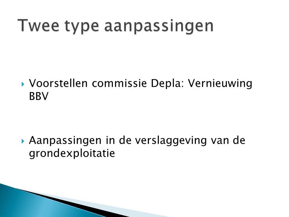  Voorstellen commissie Depla: Vernieuwing BBV  Aanpassingen in de verslaggeving van de grondexploitatie