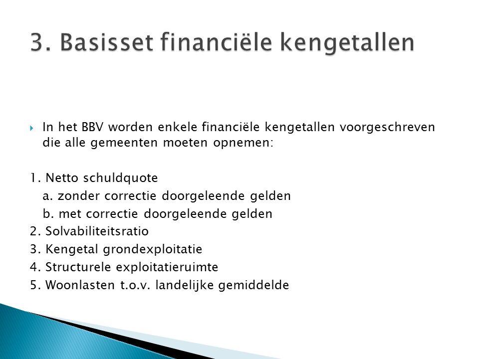  In het BBV worden enkele financiële kengetallen voorgeschreven die alle gemeenten moeten opnemen: 1. Netto schuldquote a. zonder correctie doorgelee