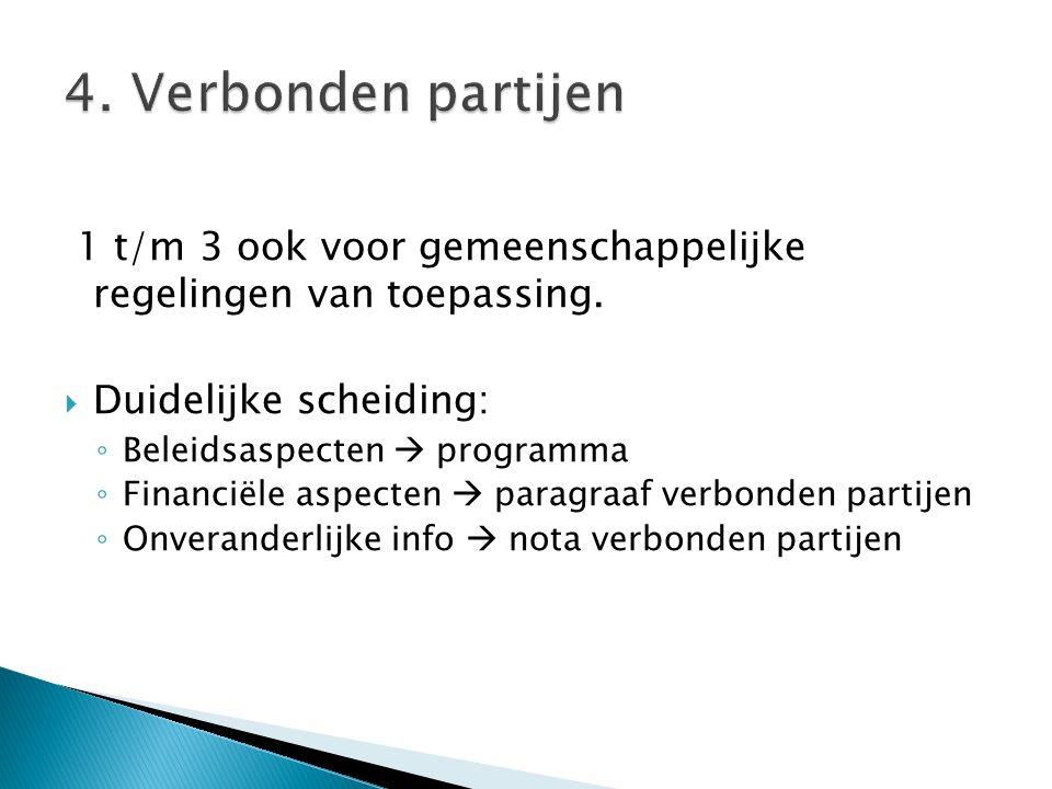 1 t/m 3 ook voor gemeenschappelijke regelingen van toepassing.  Duidelijke scheiding: ◦ Beleidsaspecten  programma ◦ Financiële aspecten  paragraaf