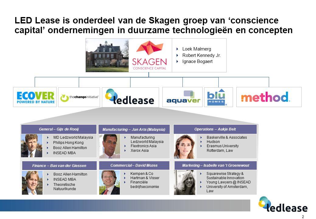 2 LED Lease is onderdeel van de Skagen groep van 'conscience capital' ondernemingen in duurzame technologieën en concepten  MD Ledzworld Malaysia  P