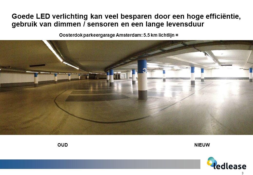 3 Goede LED verlichting kan veel besparen door een hoge efficiëntie, gebruik van dimmen / sensoren en een lange levensduur Oosterdok parkeergarage Amsterdam: 5.5 km lichtlijn = OUDNIEUW