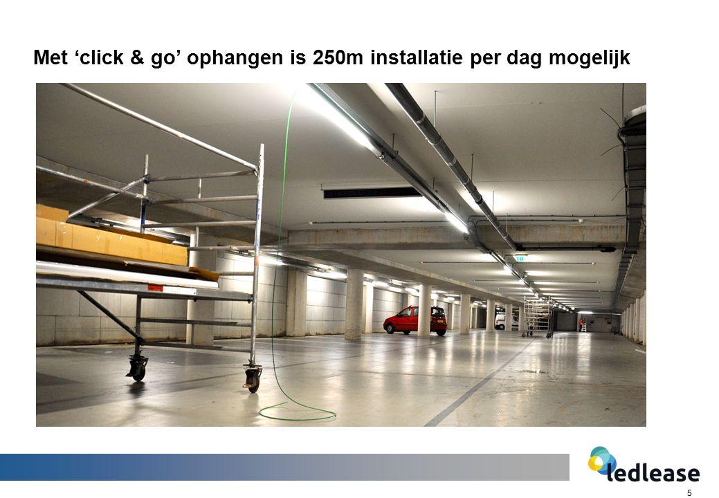 5 Met 'click & go' ophangen is 250m installatie per dag mogelijk