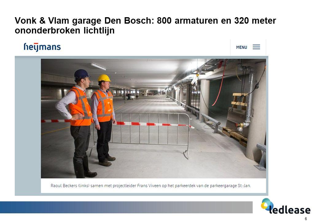6 Vonk & Vlam garage Den Bosch: 800 armaturen en 320 meter ononderbroken lichtlijn