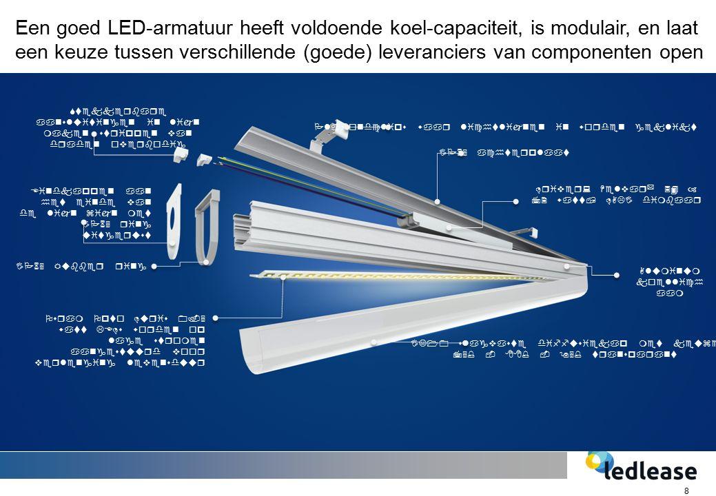 8 IK10 slagvaste diffusiekap met keuze 75% - 88% - 95% transparant Eindkappen aan het einde van de lijn zijn met IP65 ring uitgerust IP65 achterplaat Driver: Helvar * 34 – 72 watt, DALI dimbaar IP65 Rubber ring Osram Opto Duris 0.5 watt LEDs worden op lage stromen aangestuurd voor verlenging levensduur Stekkerbare aansluitingen in lijn maken strippen van draden overbodig Plafondclips waar lichtlijnen in worden geklikt Aluminum koellich aam Een goed LED-armatuur heeft voldoende koel-capaciteit, is modulair, en laat een keuze tussen verschillende (goede) leveranciers van componenten open
