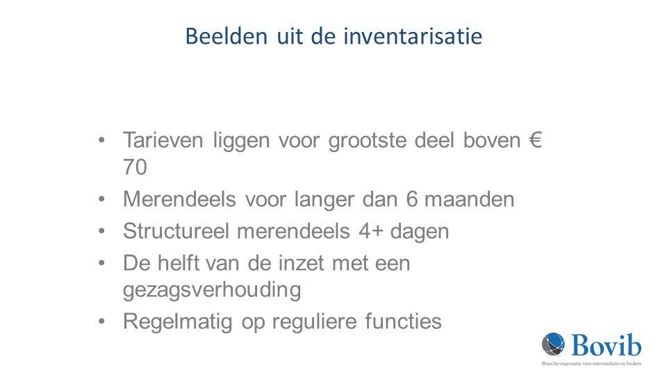 Beelden uit de inventarisatie Tarieven liggen voor grootste deel boven € 70 Merendeels voor langer dan 6 maanden Structureel merendeels 4+ dagen De helft van de inzet met een gezagsverhouding Regelmatig op reguliere functies