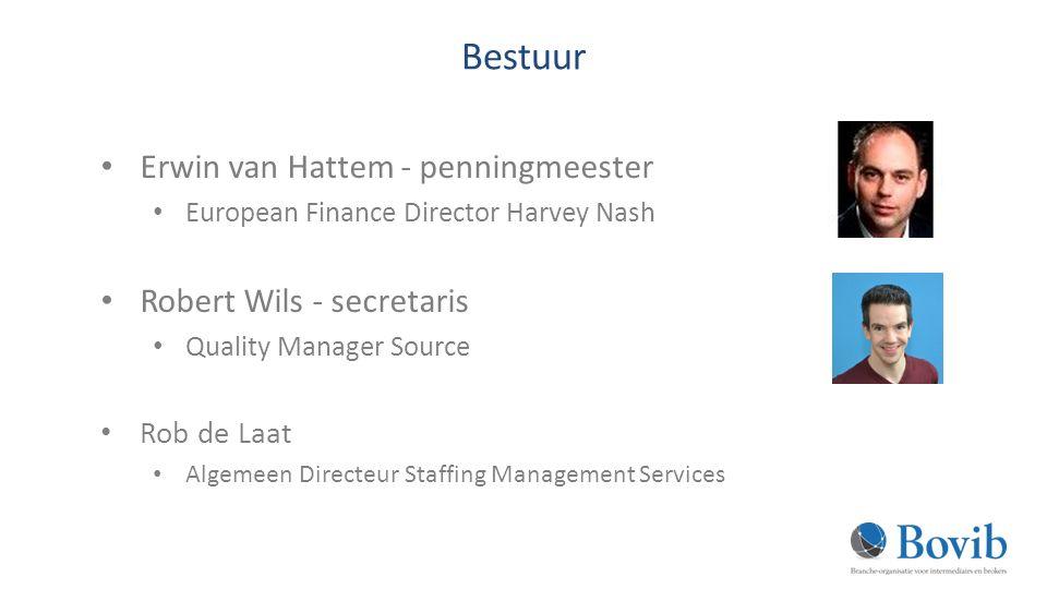 Bestuur Erwin van Hattem - penningmeester European Finance Director Harvey Nash Robert Wils - secretaris Quality Manager Source Rob de Laat Algemeen Directeur Staffing Management Services