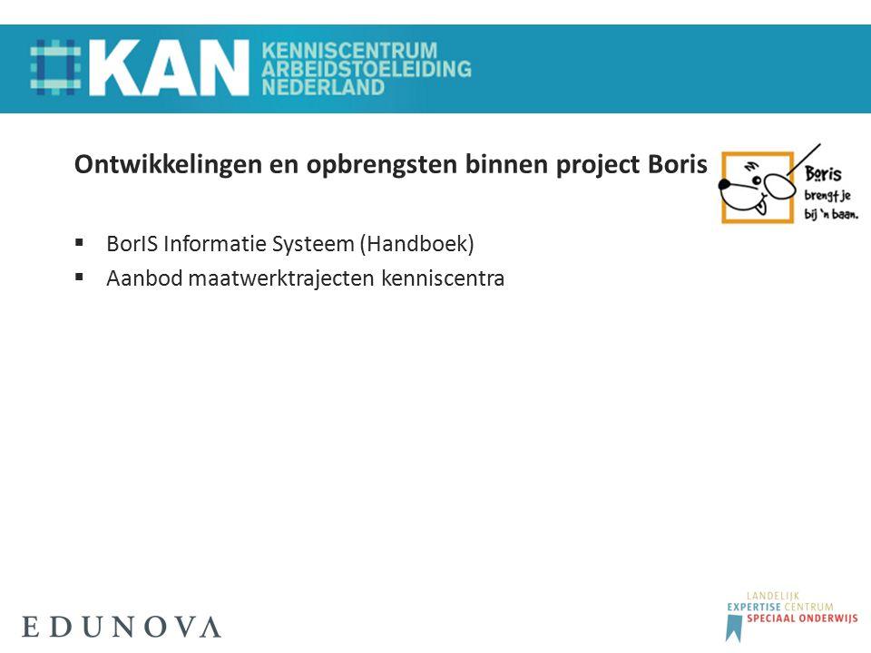 Ontwikkelingen en opbrengsten binnen project Boris  BorIS Informatie Systeem (Handboek)  Aanbod maatwerktrajecten kenniscentra