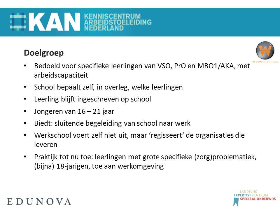 Doelgroep Bedoeld voor specifieke leerlingen van VSO, PrO en MBO1/AKA, met arbeidscapaciteit School bepaalt zelf, in overleg, welke leerlingen Leerlin