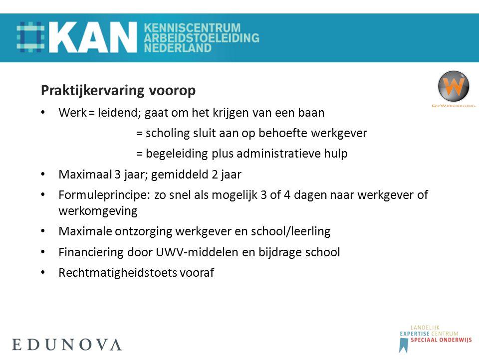 Praktijkervaring voorop Werk= leidend; gaat om het krijgen van een baan = scholing sluit aan op behoefte werkgever = begeleiding plus administratieve