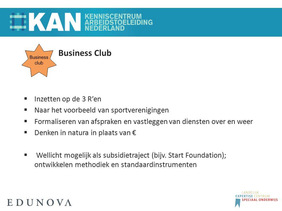 Business Club  Inzetten op de 3 R'en  Naar het voorbeeld van sportverenigingen  Formaliseren van afspraken en vastleggen van diensten over en weer