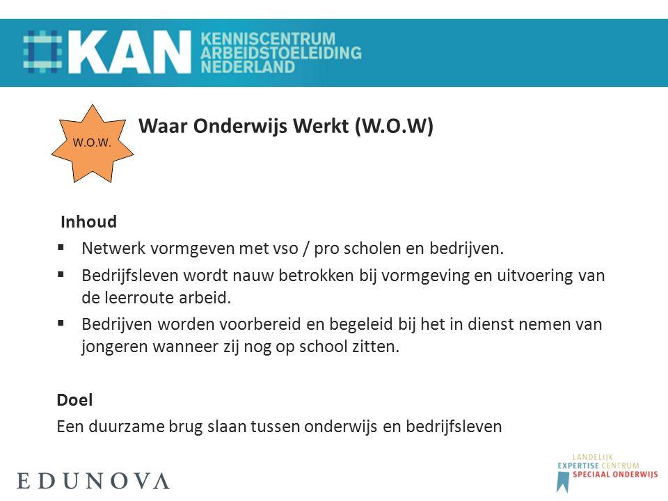 Waar Onderwijs Werkt (W.O.W) Inhoud  Netwerk vormgeven met vso / pro scholen en bedrijven.  Bedrijfsleven wordt nauw betrokken bij vormgeving en uit