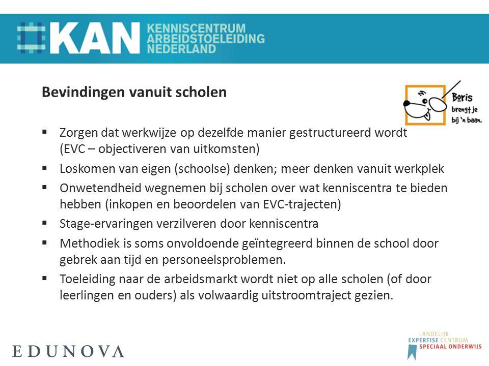 Bevindingen vanuit scholen  Zorgen dat werkwijze op dezelfde manier gestructureerd wordt (EVC – objectiveren van uitkomsten)  Loskomen van eigen (sc