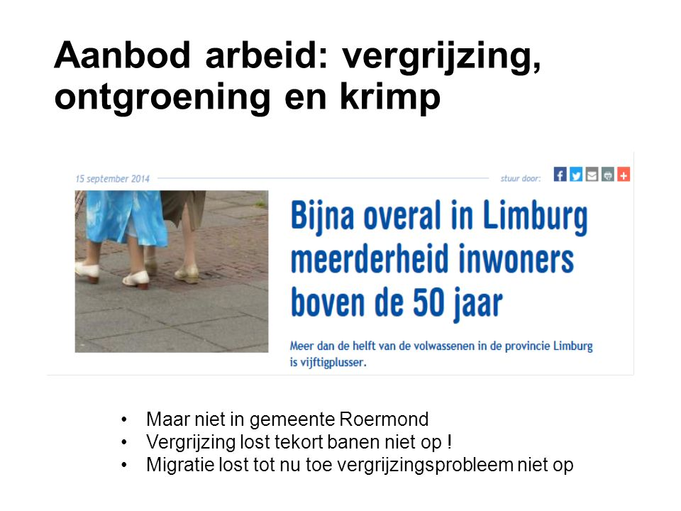 Aanbod arbeid: vergrijzing, ontgroening en krimp Maar niet in gemeente Roermond Vergrijzing lost tekort banen niet op .