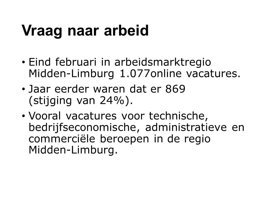 Vraag naar arbeid Eind februari in arbeidsmarktregio Midden-Limburg 1.077online vacatures.
