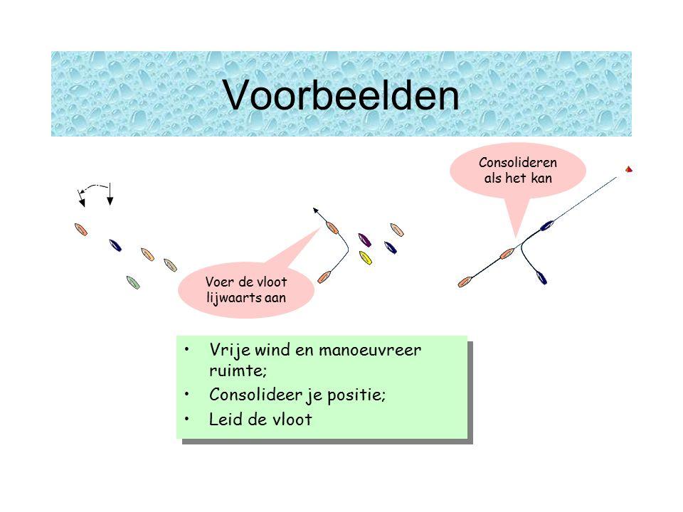 Voorbeelden Vrije wind en manoeuvreer ruimte; Consolideer je positie; Leid de vloot Vrije wind en manoeuvreer ruimte; Consolideer je positie; Leid de vloot Consolideren als het kan Voer de vloot lijwaarts aan