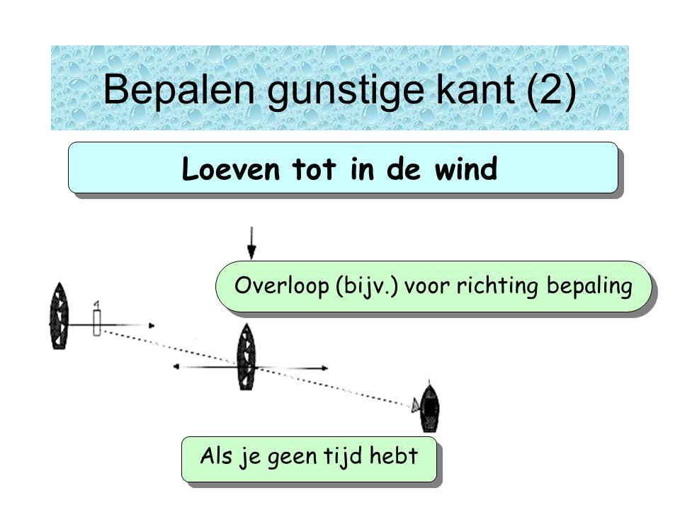 Loeven tot in de wind Als je geen tijd hebt Overloop (bijv.) voor richting bepaling Bepalen gunstige kant (2)