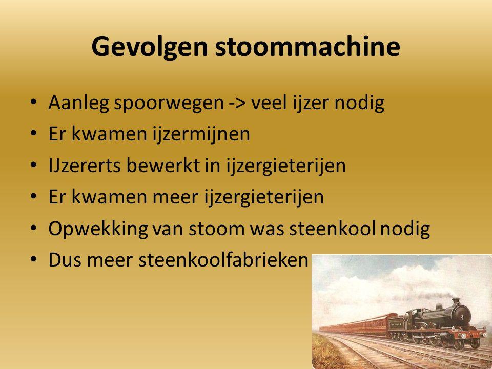 Gevolgen stoommachine Aanleg spoorwegen -> veel ijzer nodig Er kwamen ijzermijnen IJzererts bewerkt in ijzergieterijen Er kwamen meer ijzergieterijen Opwekking van stoom was steenkool nodig Dus meer steenkoolfabrieken