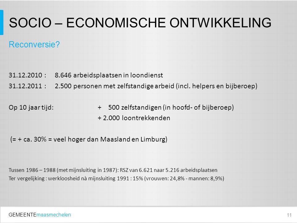 GEMEENTEmaasmechelen SOCIO – ECONOMISCHE ONTWIKKELING 31.12.2010 : 8.646 arbeidsplaatsen in loondienst 31.12.2011 : 2.500 personen met zelfstandige arbeid (incl.