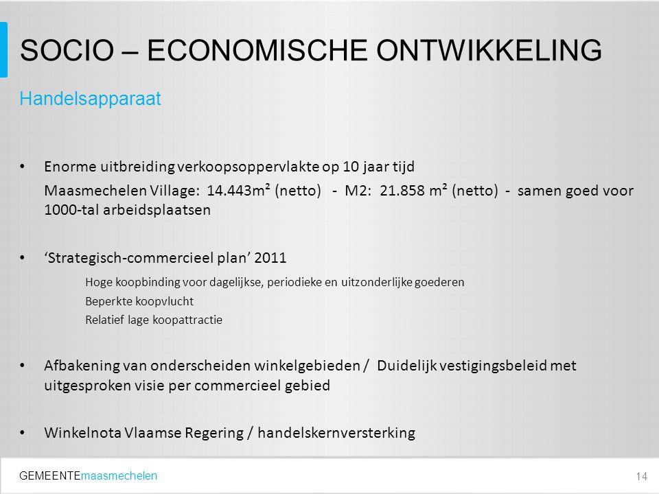 GEMEENTEmaasmechelen SOCIO – ECONOMISCHE ONTWIKKELING Enorme uitbreiding verkoopsoppervlakte op 10 jaar tijd Maasmechelen Village: 14.443m² (netto) - M2: 21.858 m² (netto) - samen goed voor 1000-tal arbeidsplaatsen 'Strategisch-commercieel plan' 2011 Hoge koopbinding voor dagelijkse, periodieke en uitzonderlijke goederen Beperkte koopvlucht Relatief lage koopattractie Afbakening van onderscheiden winkelgebieden / Duidelijk vestigingsbeleid met uitgesproken visie per commercieel gebied Winkelnota Vlaamse Regering / handelskernversterking 14 Handelsapparaat