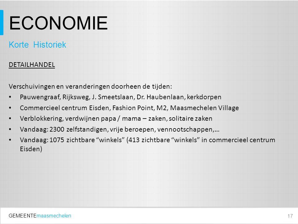 GEMEENTEmaasmechelen ECONOMIE DETAILHANDEL Verschuivingen en veranderingen doorheen de tijden: Pauwengraaf, Rijksweg, J.
