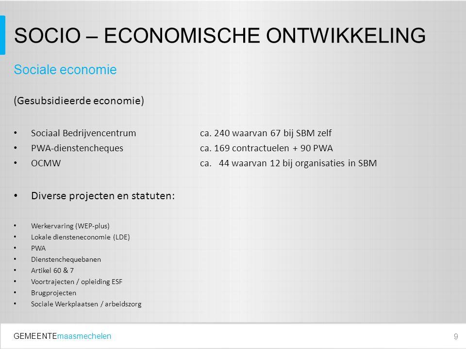 GEMEENTEmaasmechelen SOCIO – ECONOMISCHE ONTWIKKELING (Gesubsidieerde economie) Sociaal Bedrijvencentrumca.