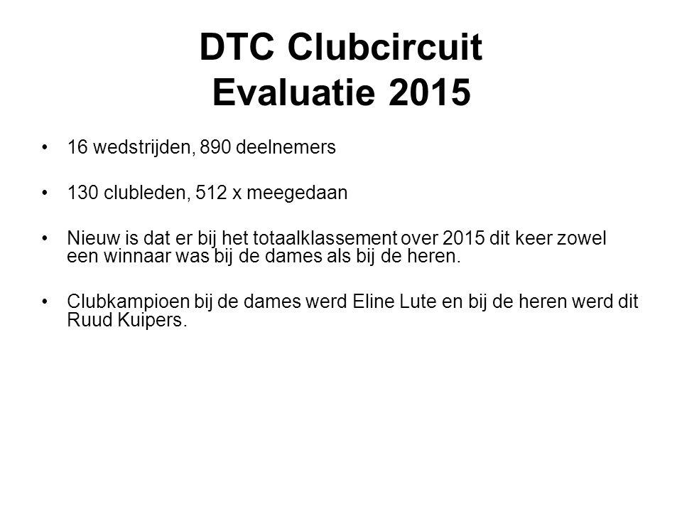 DTC Clubcircuit Evaluatie 2015 16 wedstrijden, 890 deelnemers 130 clubleden, 512 x meegedaan Nieuw is dat er bij het totaalklassement over 2015 dit keer zowel een winnaar was bij de dames als bij de heren.