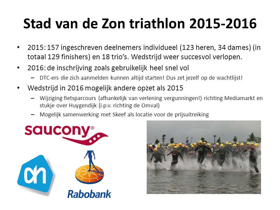 Stad van de Zon triathlon 2015-2016 2015: 157 ingeschreven deelnemers individueel (123 heren, 34 dames) (in totaal 129 finishers) en 18 trio's.