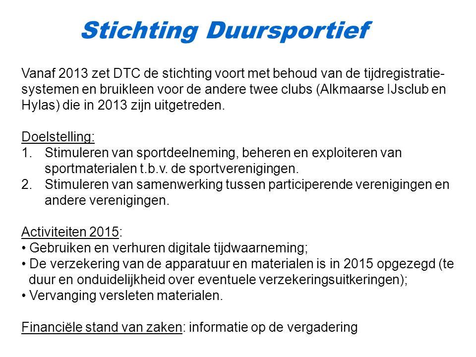 Stichting Duursportief Vanaf 2013 zet DTC de stichting voort met behoud van de tijdregistratie- systemen en bruikleen voor de andere twee clubs (Alkmaarse IJsclub en Hylas) die in 2013 zijn uitgetreden.