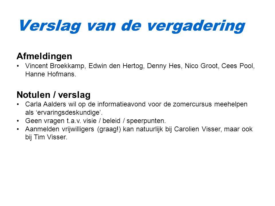 Verslag van de vergadering Afmeldingen Vincent Broekkamp, Edwin den Hertog, Denny Hes, Nico Groot, Cees Pool, Hanne Hofmans.