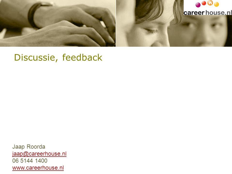Discussie, feedback Jaap Roorda jaap@careerhouse.nl 06 5144 1400 www.careerhouse.nl
