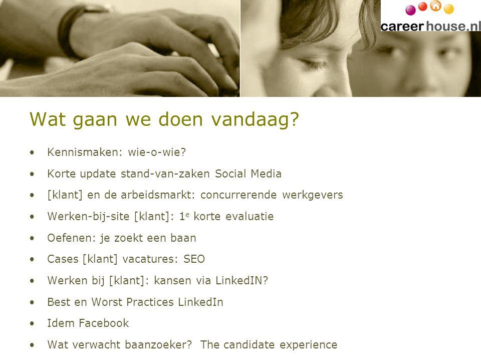 Wat gaan we doen vandaag? Kennismaken: wie-o-wie? Korte update stand-van-zaken Social Media [klant] en de arbeidsmarkt: concurrerende werkgevers Werke