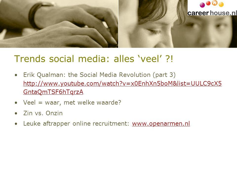 Trends social media: alles 'veel' ?! Erik Qualman: the Social Media Revolution (part 3) http://www.youtube.com/watch?v=x0EnhXn5boM&list=UULC9cX5 GntaQ