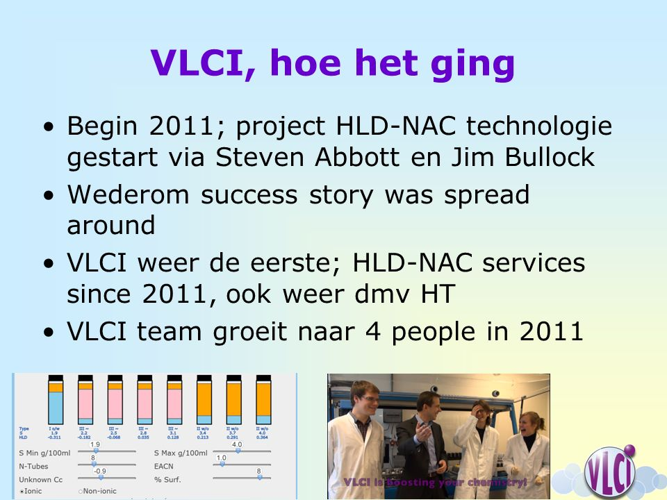 VLCI, hoe het ging Begin 2011; project HLD-NAC technologie gestart via Steven Abbott en Jim Bullock Wederom success story was spread around VLCI weer de eerste; HLD-NAC services since 2011, ook weer dmv HT VLCI team groeit naar 4 people in 2011