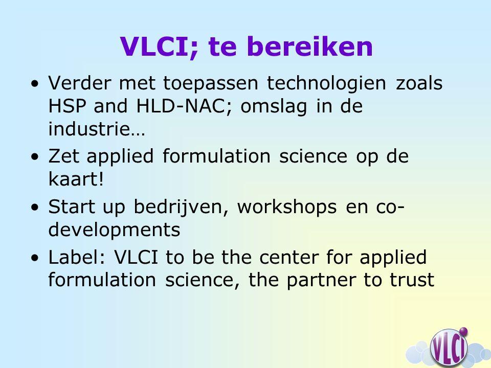 VLCI; te bereiken Verder met toepassen technologien zoals HSP and HLD-NAC; omslag in de industrie… Zet applied formulation science op de kaart.