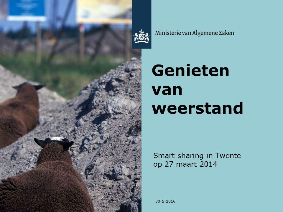 Smart sharing in Twente op 27 maart 2014 30-5-2016 Genieten van weerstand