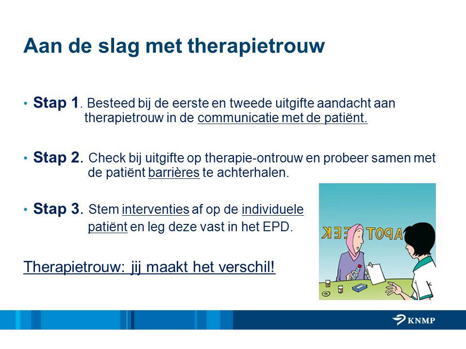 Aan de slag met therapietrouw Stap 1. Besteed bij de eerste en tweede uitgifte aandacht aan therapietrouw in de communicatie met de patiënt. Stap 2. C