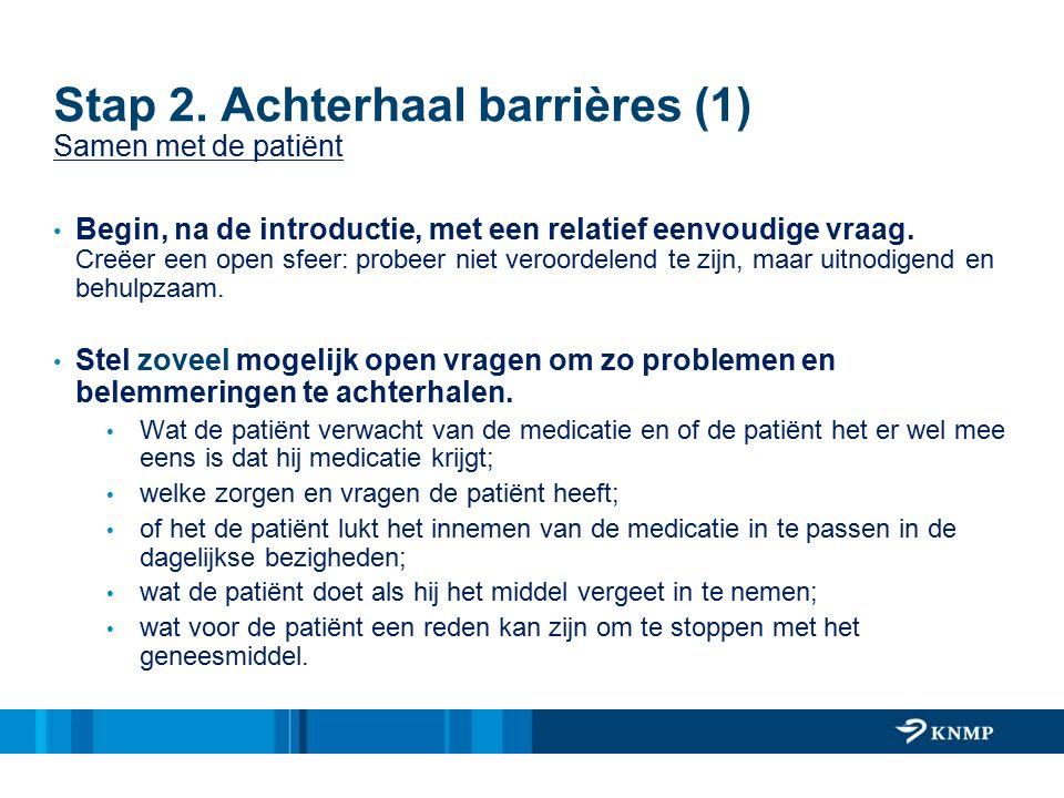 Stap 2. Achterhaal barrières (1) Samen met de patiënt Begin, na de introductie, met een relatief eenvoudige vraag. Creëer een open sfeer: probeer niet