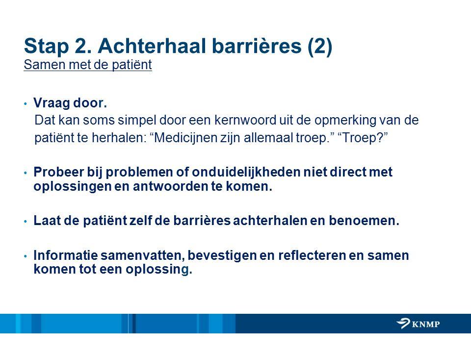 Stap 2. Achterhaal barrières (2) Samen met de patiënt Vraag door. Dat kan soms simpel door een kernwoord uit de opmerking van de patiënt te herhalen: