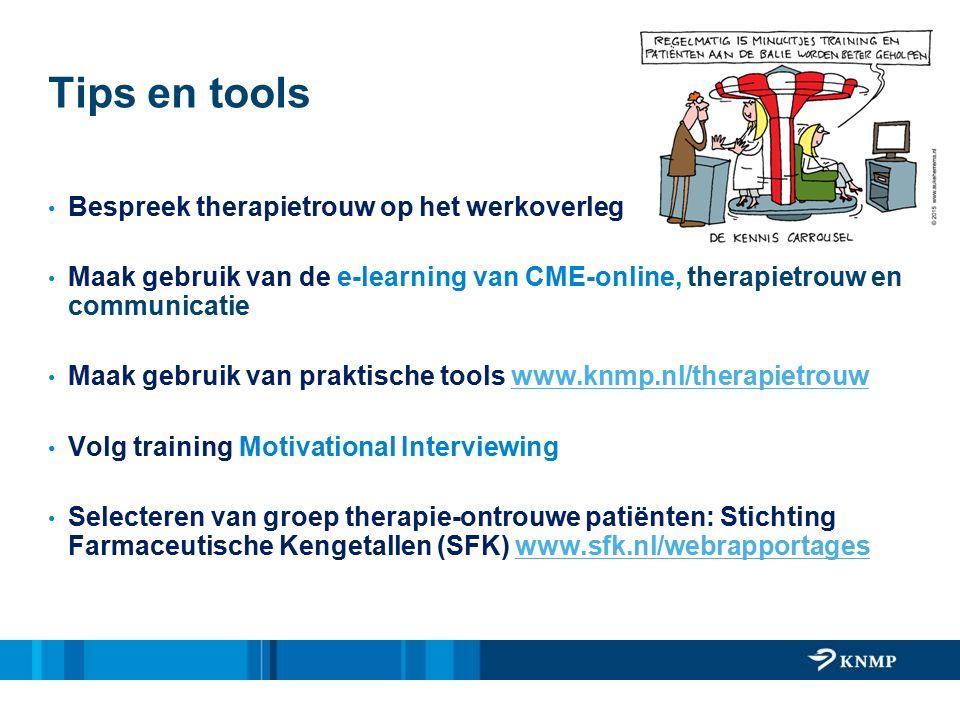 Tips en tools Bespreek therapietrouw op het werkoverleg Maak gebruik van de e-learning van CME-online, therapietrouw en communicatie Maak gebruik van