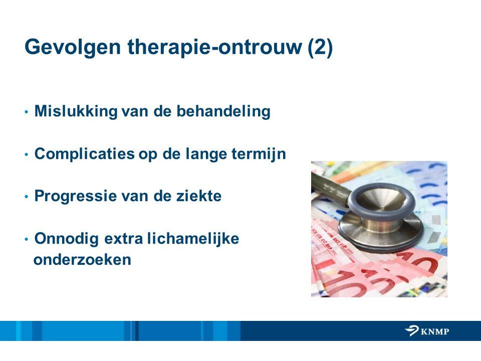 Gevolgen therapie-ontrouw (2) Mislukking van de behandeling Complicaties op de lange termijn Progressie van de ziekte Onnodig extra lichamelijke onderzoeken